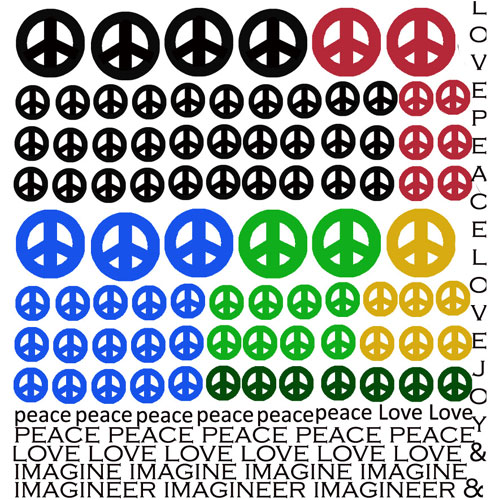 Peace Symbol Enamel Decals