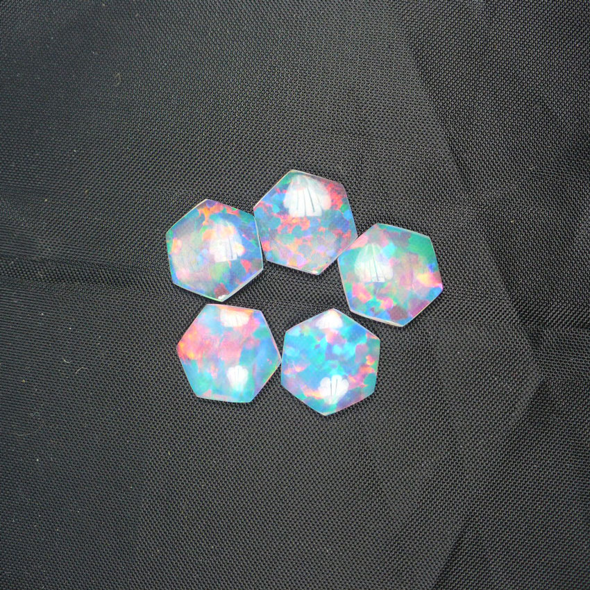 10 x 10mm White Hexagon Opal