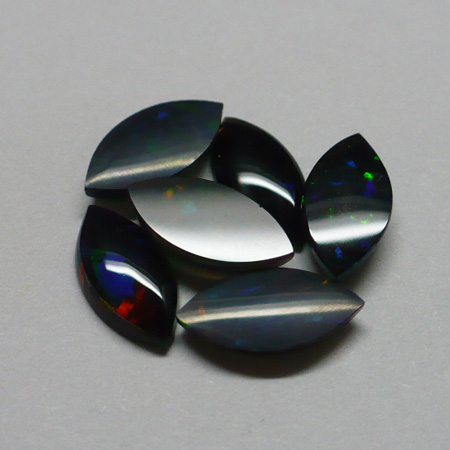 10 x 5mm Black Marquis Opal